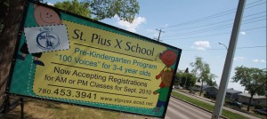 St. Pius Portable School Sign